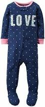 Carters Infant Girls Navy Blue Floral LOVE Sleeper Footie Pajamas 24m - $12.86