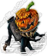 Jack O'Lantern Halloween Headless Pumpkin Car Bumper Vinyl Sticker Decal... - £2.54 GBP
