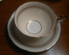 Aynsley 1 Teacup and Saucer Cynthia Pattern Cream White Gold  - $7.44