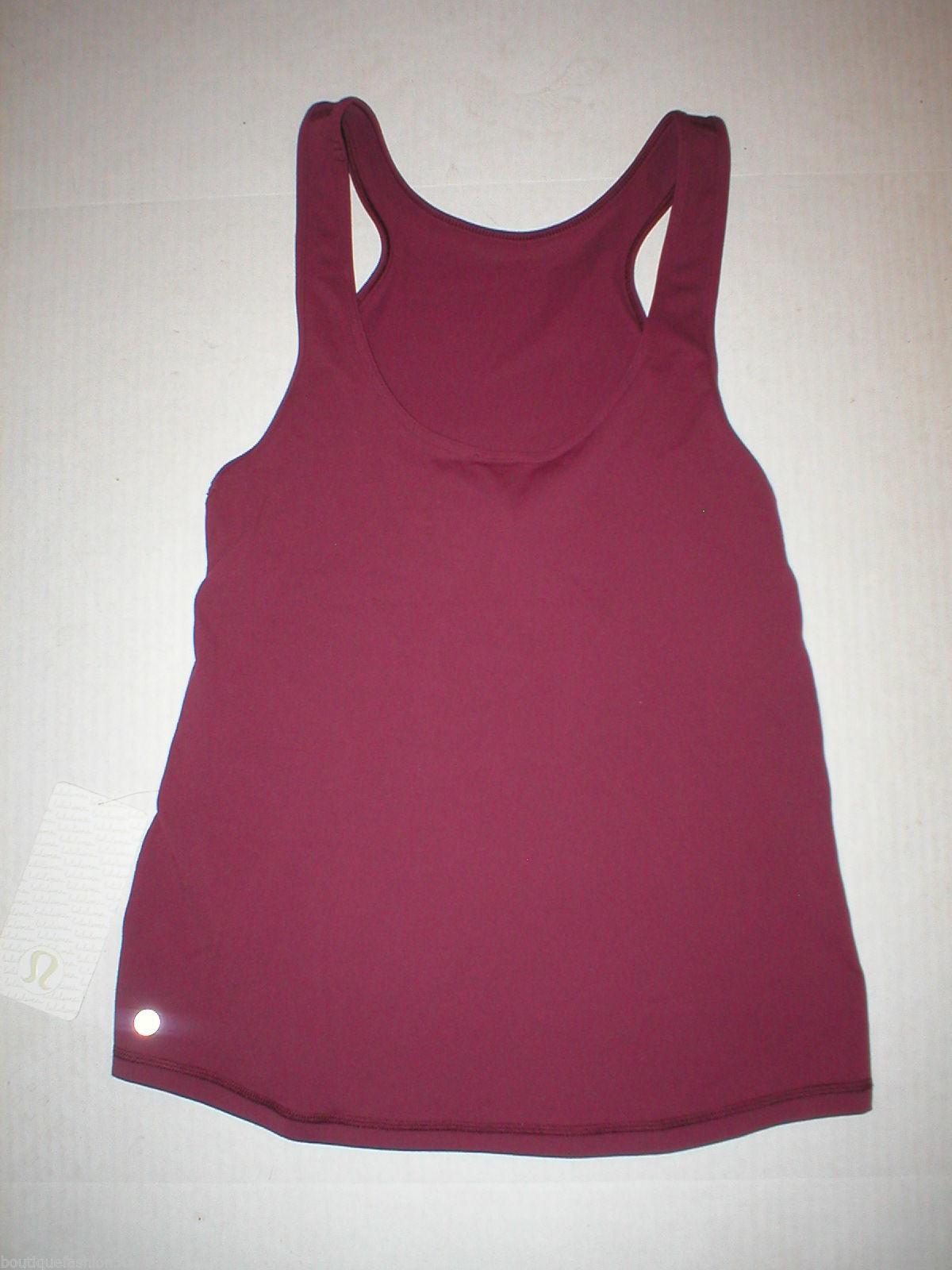 Womens Lululemon Tank Top Hot Yoga 10 Pilates NWT New Dark Red Workout Front Rac