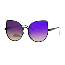 Foxy Cateye Flat Lens Sunglasses Super Oversized Metal Frame Mirror Lens - $9.75+
