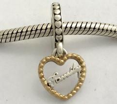 Auténtico Pandora Amor Familia con / 14K Oro Charm Colgante, 792011 ,Nuevo - $75.79