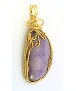 Purple Sagenite Agate Brass Wire Wrap Pendant 55 - $27.91