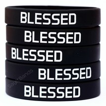 BLESSED Wristband Lot - Set of Inspirational Silicone Bracelet Wrist Bands - $5.82+