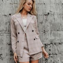 Women Famous Brand 2 Piece Double Breasted Plaid Blazer Shorts Suit