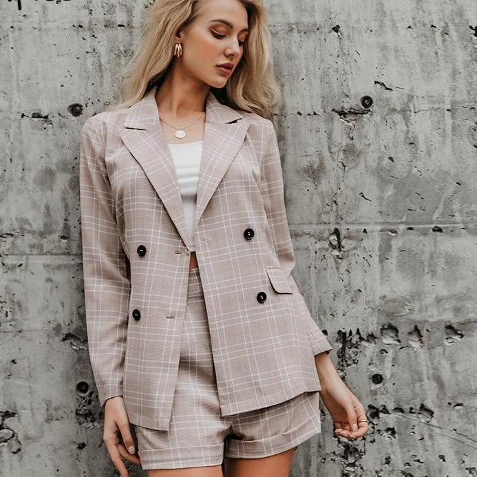 Wo piece blazer women suits double breasted plaid casual female blazer shorts set elegant office