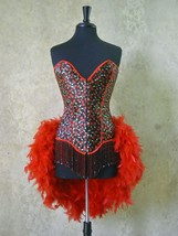 SALE-S,M,L,XL-Double Beaded Cherry Pin Up Showgirl Saloon Girl Can Can M... - $114.99