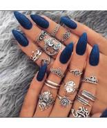 RAVIMOUR 16PCS Boho Women Rings Set Vintage Silver Finger Kunckle Ring B... - $10.50