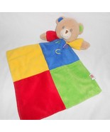 ABC Bear Baby Security Blanket Primary Color Squares Green Satin Fancy F... - $24.73