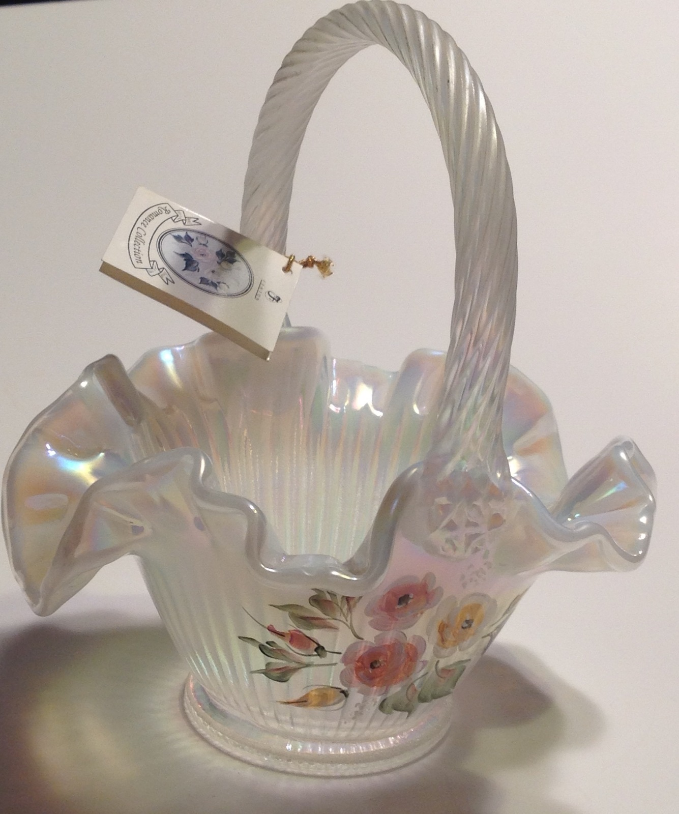 Fenton Opalescent Glass Basket Artist Signed Mackay Hand Painted image 6