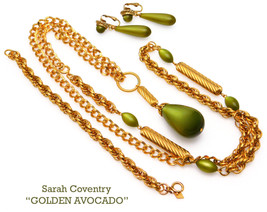 Vintage Sarah Coventry GOLDEN AVOCADO Moon Glow Necklace Earrings Set - $75.00