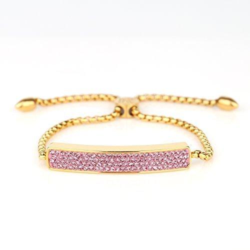 UNITED ELEGANCE Gold Tone Bolo Bar Bracelet With Pink Swarovski Style Crystals