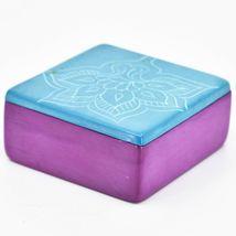 Vaneal Group Hand Carved Kisii Soapstone Blue Fuchsia Floral Flower Trinket Box image 3