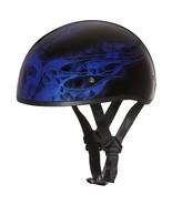 Daytona Helmet Skull Cap W/ SKULL FLAMES BLUE Bike DOT Motorcycle Helmets - $77.36