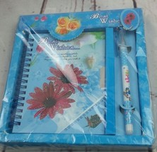 New Blue Red Floral Missing You Journal Pen Set with Keys to Lock - $12.19