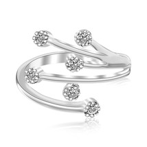 Solid Sterling Silver Rhodium Finished White Cubic Zirconia Embellished Toe Ring - $41.58