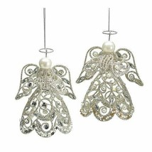 Set of 2 Victorian Christmas Tree Ornaments Accented with Glitter and Pe... - $28.98