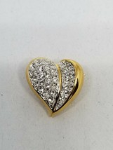 Small divided Heart Shaped Pin Gold Tone with Rhinestones Vintage Brooch - $13.49
