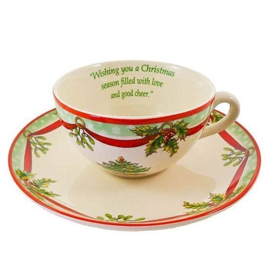 Spode Cup & Saucer Christmas Tree Sentiment Holiday 2009 Annual New in Box - $14.99