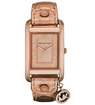 Michael Kors MK2248 Women Rectangle Watch Rose Gold Leather Strap Rose Gold Dial - $213.77
