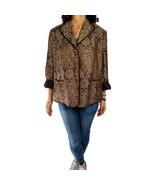 LIZ CLAIBORNE 20W brown jacquard fall blazer jacket pockets button front... - $18.81