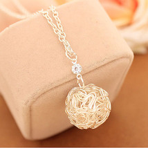 Women Fashion Silver Plated Hollow Thread Ball Pendants Necklace Jewelry - $9.80