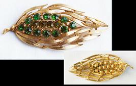 Lisner vintage gold tone leaf pin green rhinestones in center marked jew... - $11.88