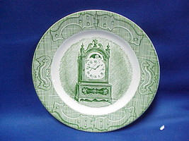 """Currier & Ives Clock Saucer 6 1/2"""" The Old Curiosity Shop Green Royal China - $7.92"""