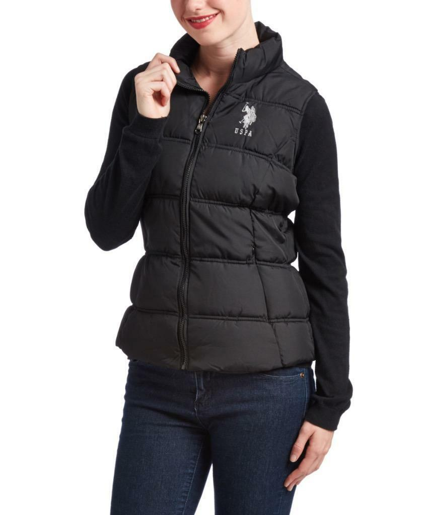 New Us Polo Assn Women's Premium Athletic Plush Puffer Zip Up Vest Black