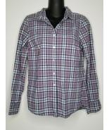 J. CREW Womens Purple Plaid Button Down Perfect Shirt Blouse Top Sz 4 LS... - $17.99