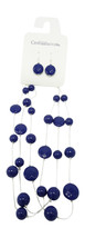 One Dozen New Closeout Necklace Earring Sets with Deep Blue Beads #N2586-12 - $19.80