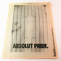 ABSOLUT PRIDE New York Post (October 29, 1996) Full-Page Newspaper Ad - $9.99