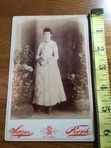 Cabinet Card Beautiful Teen Girl White Dress Holds Book Studio Artwork 1860-80! - $12.00