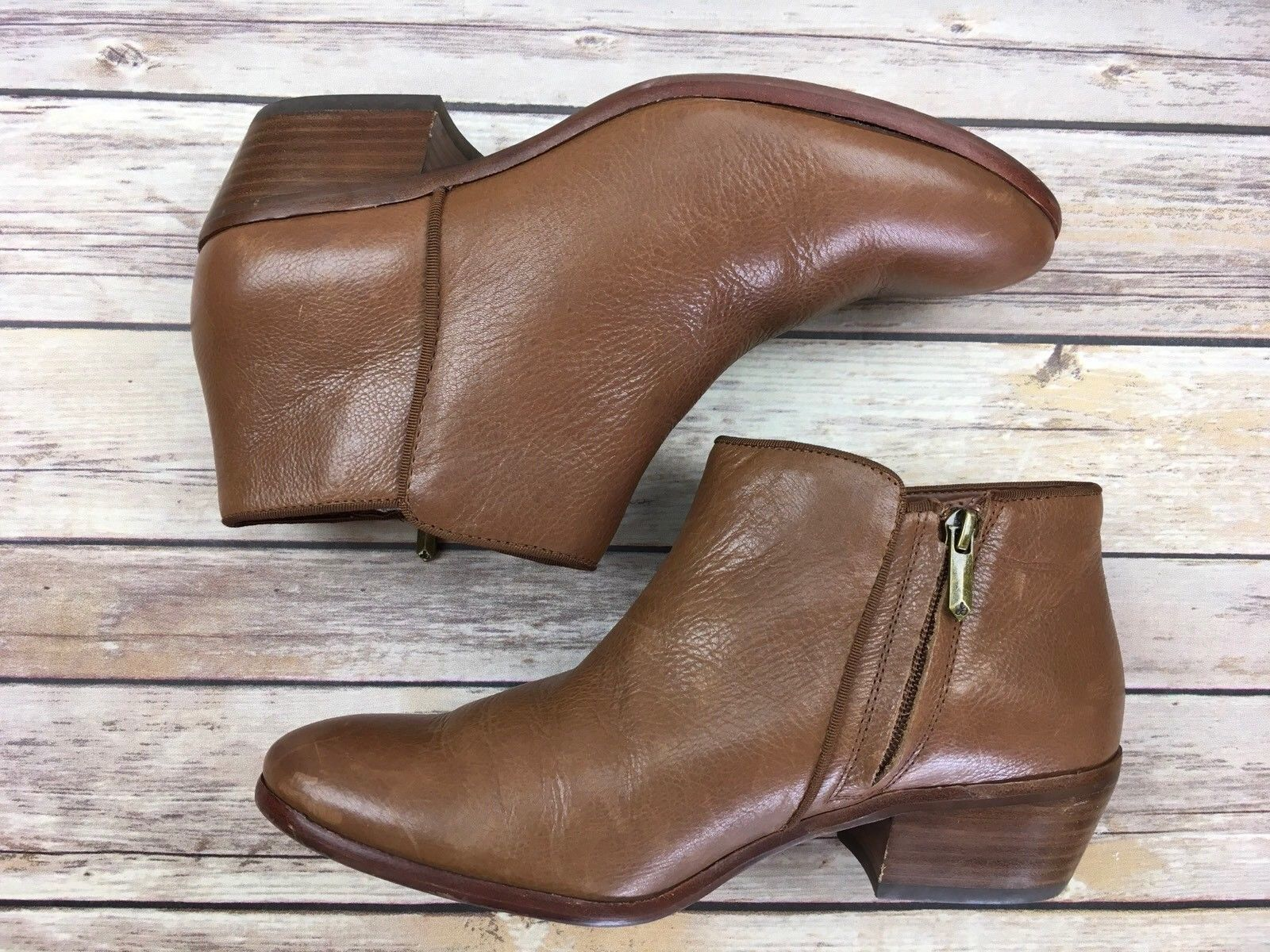 183aa7ae375f ... SAM EDELMAN Booties Petty Chelsea Ankle Boots Deep Brown Saddle Leather  9 ...
