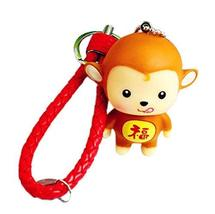 PANDA SUPERSTORE 2 Pieces of Monkey Car Key Ring Creative Weave Key Pendant, Red