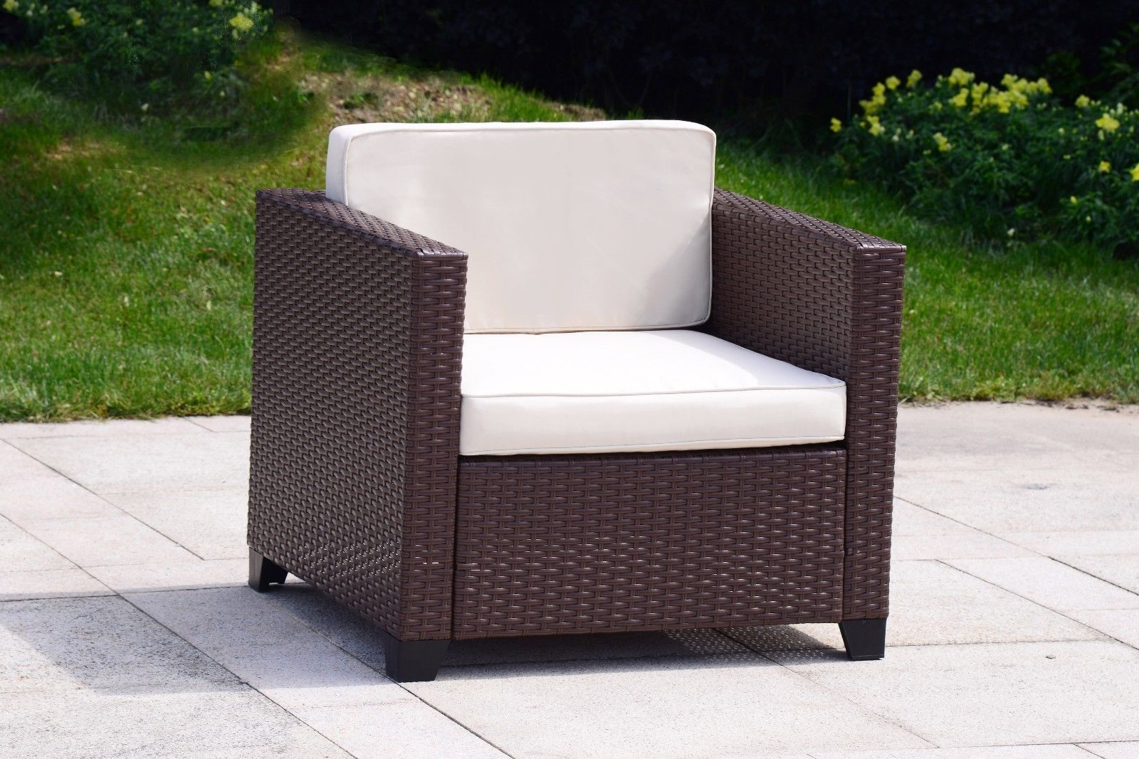 5 PC Wicker Rattan Chair Sofa Cushioned Patio Lawn Sectional Ottoman Set Brown