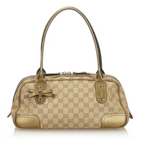Pre-Loved Gucci Brown Beige Canvas Fabric GG Princy Shoulder Bag Italy - $387.09