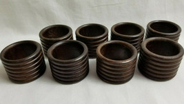 Dark Natural Wood Napkin Holder Rings Dinning Table Decor Set of 8 Brown - $19.99