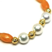 Bracelet Yellow Gold 18K 750 Jade and Carnelian Oval Faceted,Bead,Ball P... - $300.65
