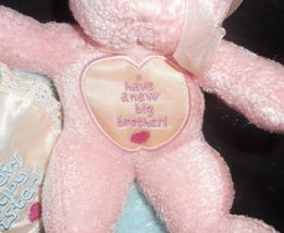 2000 ENESCO BLUE BROTHER PINK SISTER TEDDY BEAR RATTLE STUFFED ANIMAL PLUSH TOY image 5
