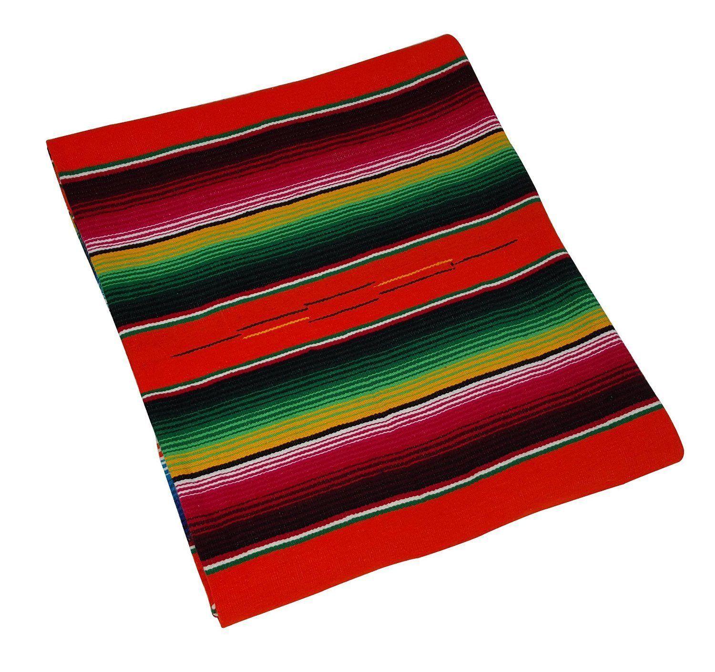 #203 Orange Bright Throw Mexican Blanket Sarape Premium