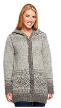Aran Craft Wool Long Intarsia Zip Hoodie , Gray, Size XXS, MSRP $144 - $79.19