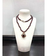 Excellent Antique Garnet Beautiful Necklace Silver Gold plated - $536.41