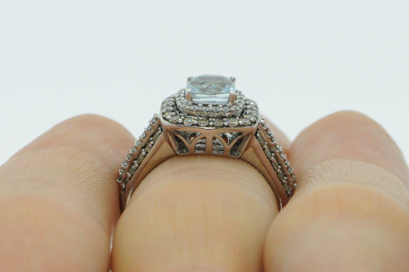 LEVIAN 14K White Gold Aquamarine Ring w/ Chocolate and Vanilla Diamonds SZ 6.75