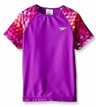 Speedo Girls Rash Guard Shirt Purple Top Swimming Surf Size M 8-10 - $13.64