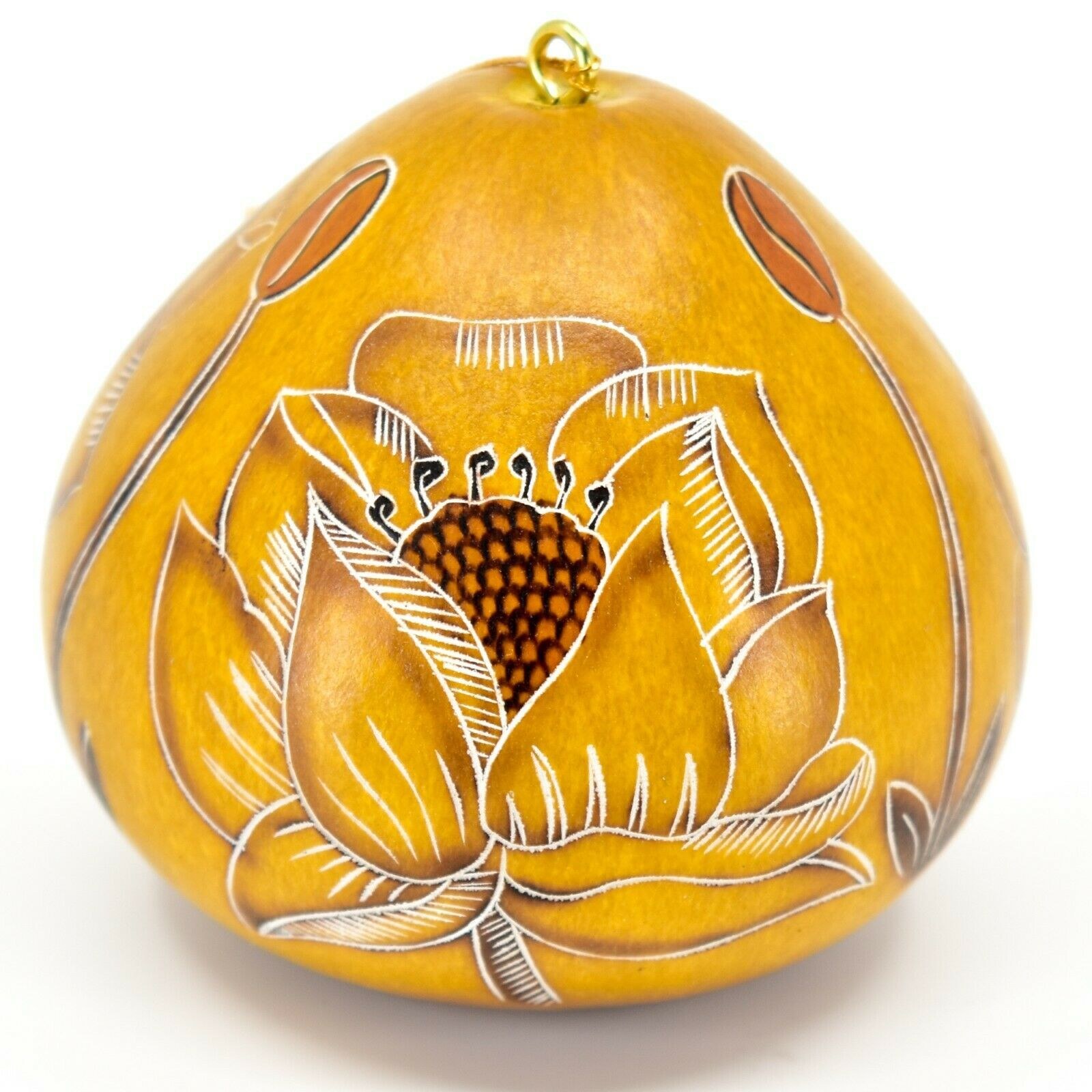Handcrafted Carved Gourd Art Trollius Flower Floral Ornament Made in Peru