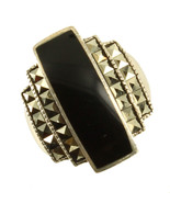 Vintage Sterling Deco Marcasite Onyx Big Ring Stunning! Size 8 - $67.49