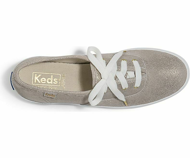 Keds WH59114 Women's Shoes Champion Glitter Suede Champagne, 10 Med