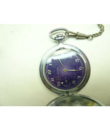 Molnij Purple dial 12-24hr and seconds at 9 vintage Pocket watch runs wh... - $144.16