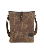 On Sale, Waxed Canvas Shoulder Bag, Leather With Canvas Crossbody Bag, M... - $90.00